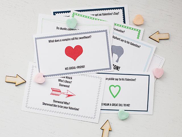 Printable Valentine joke notes