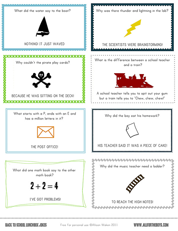 picture regarding Printable Lunchbox Jokes identified as Totally free PRINTABLE College LUNCH NOTES / JOKES! All for the Boys