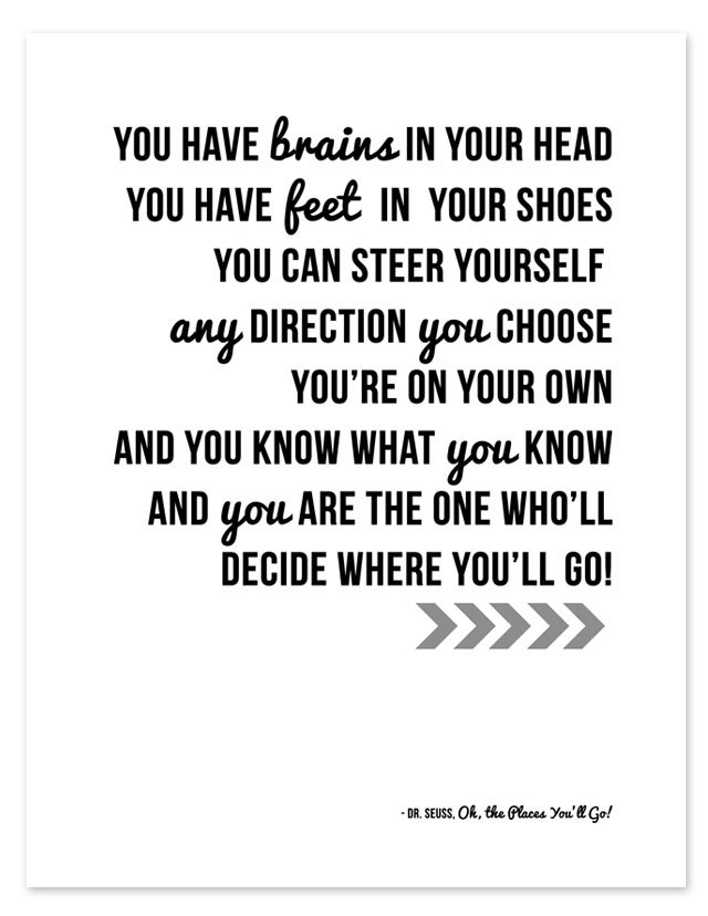 photograph about Free Printable Dr Seuss Quotes identified as Dr. Seuss Quotation Printable All for the Boys