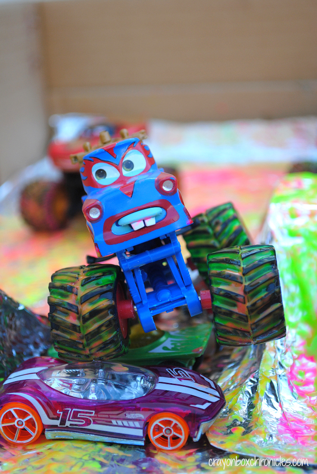 Monster Truck Foil Painting at All for the Boys blog - contributed by Crayon Box Chronicles