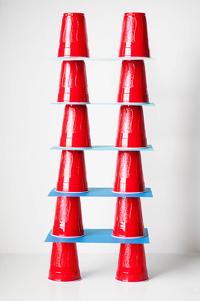 plastic cup building, a great boredom buster from All for the Boys blog