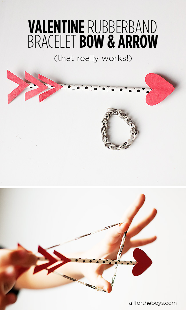 Valentine rubberband bow and arrow
