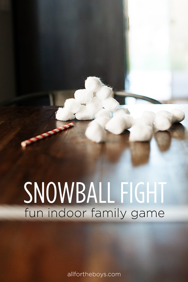 Fun indoor snowball fight game from All for the Boys blog