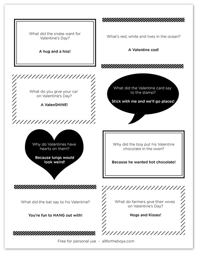 photo regarding Printable Valentines Black and White named Free of charge Printable Valentine Joke Notes All for the Boys