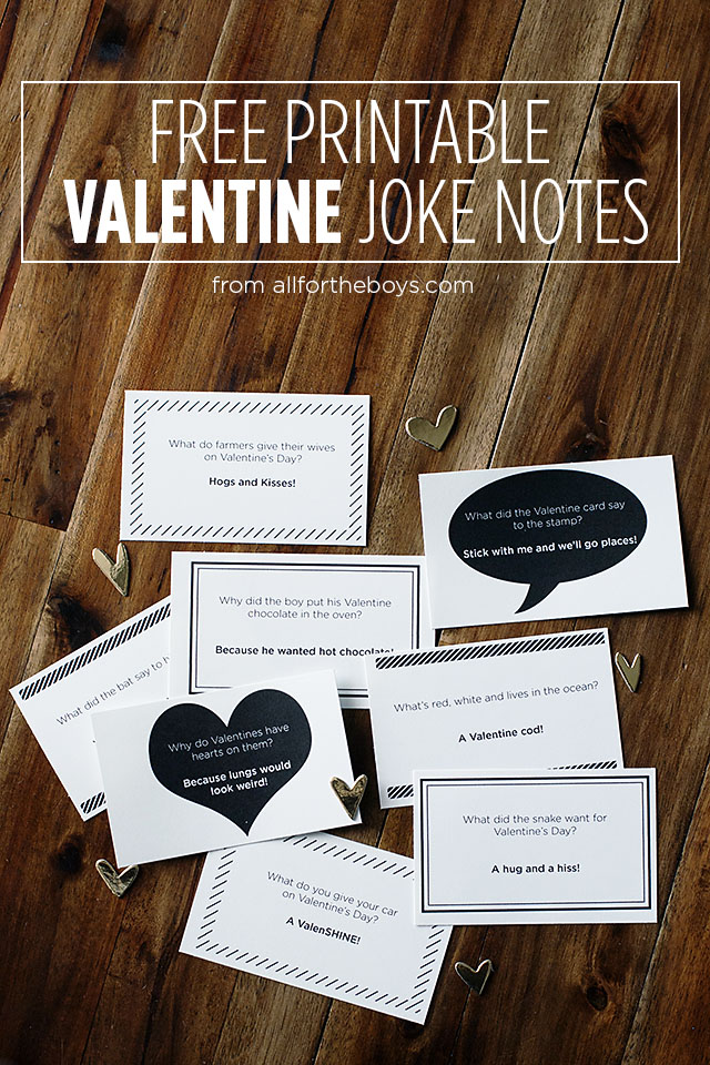 Printable valentine joke notes