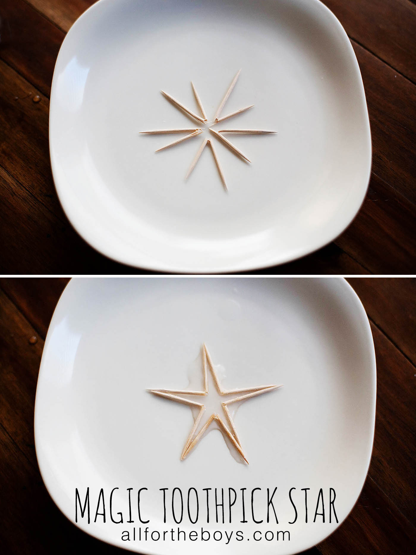 Magic toothpick star trick