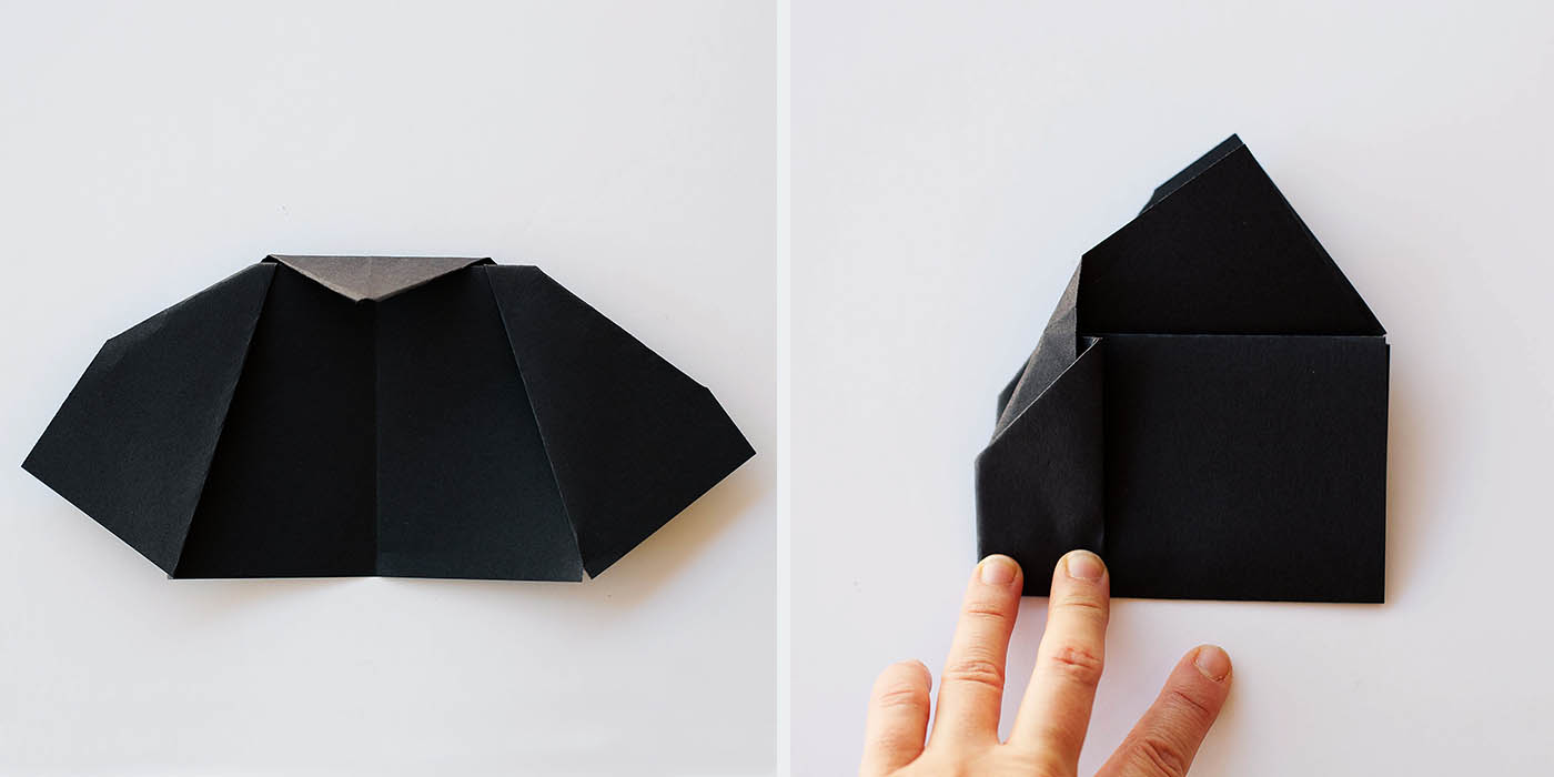 Folded flying bat