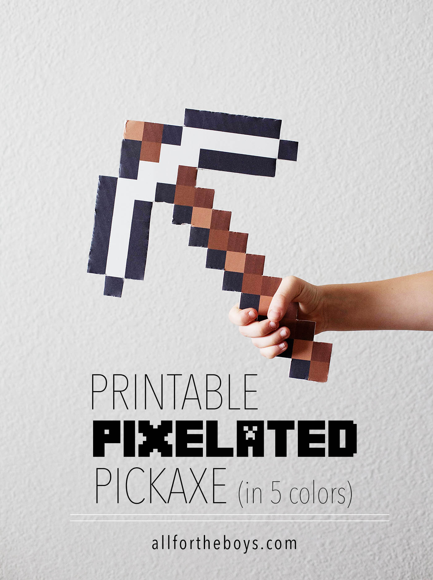 Printable Pixelated Pickaxe