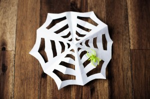 Paper spiderweb - like snowflakes, but for Halloween!