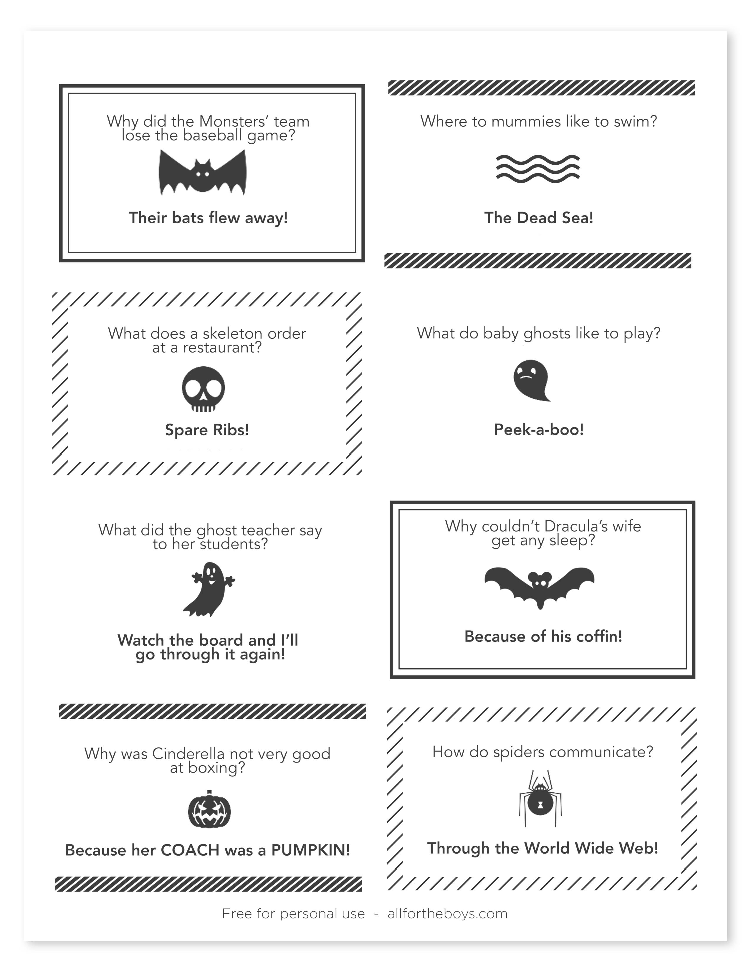 Halloween Treat Bags Printables All For The Boys Halloween Joke Notes V
