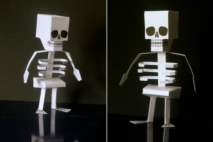 Printable skeleton paper toy