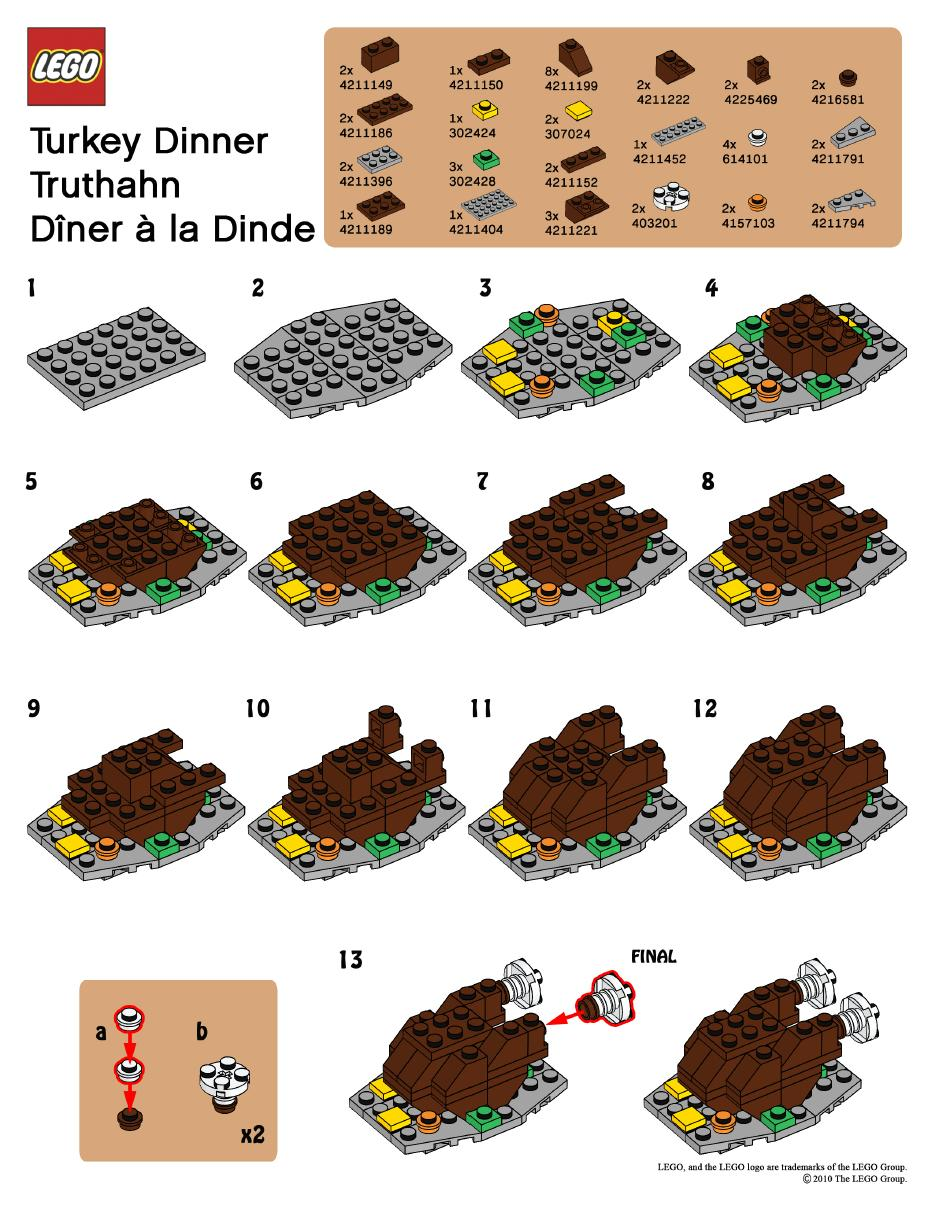 Thanksgiving turkey LEGO instructions