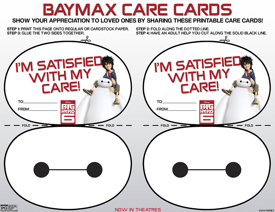 Printable Baymax care cards