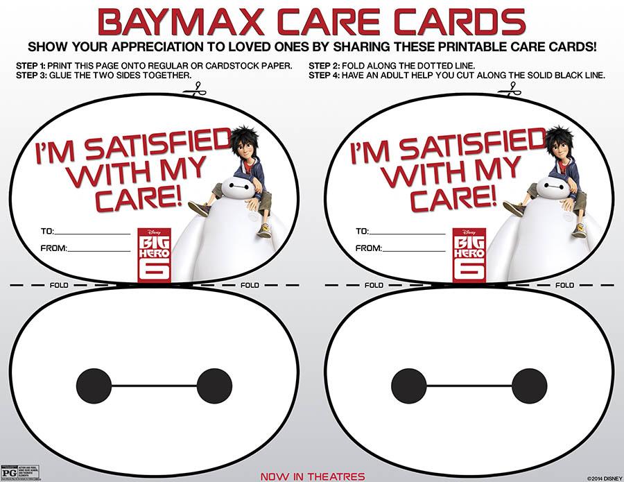 Printable Baymax care cards