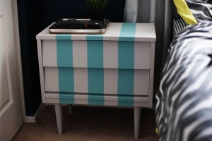 DIY Striped Nightstand
