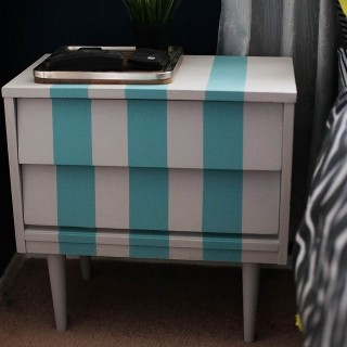 DIY Striped Nightstand