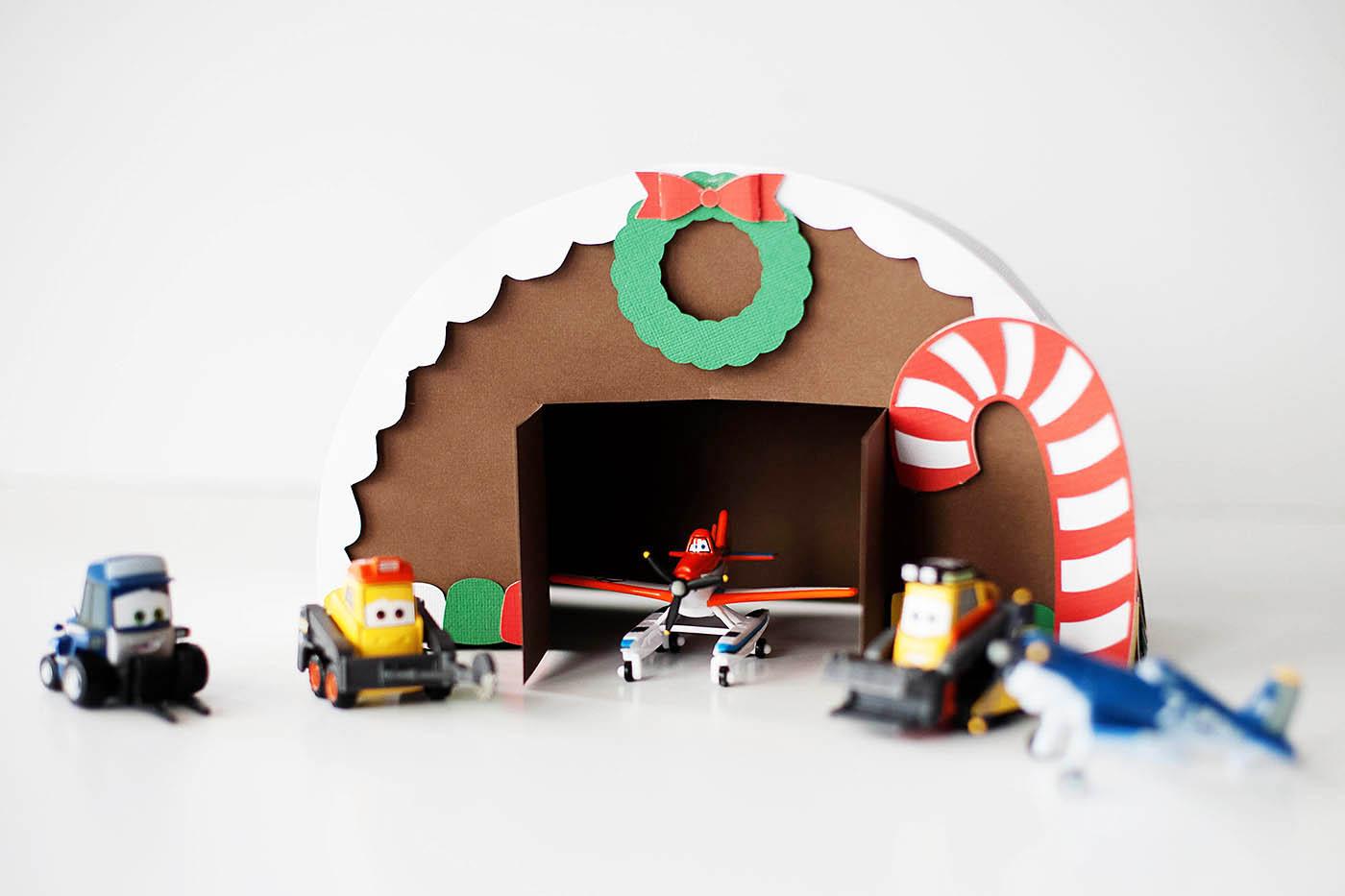 DIY Gingerbread airplane hangar