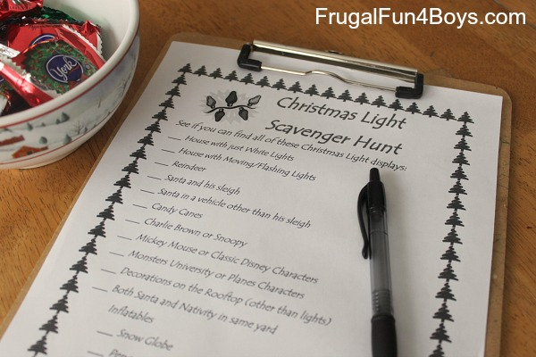 Holiday light scavenger hunts - several to choose from!
