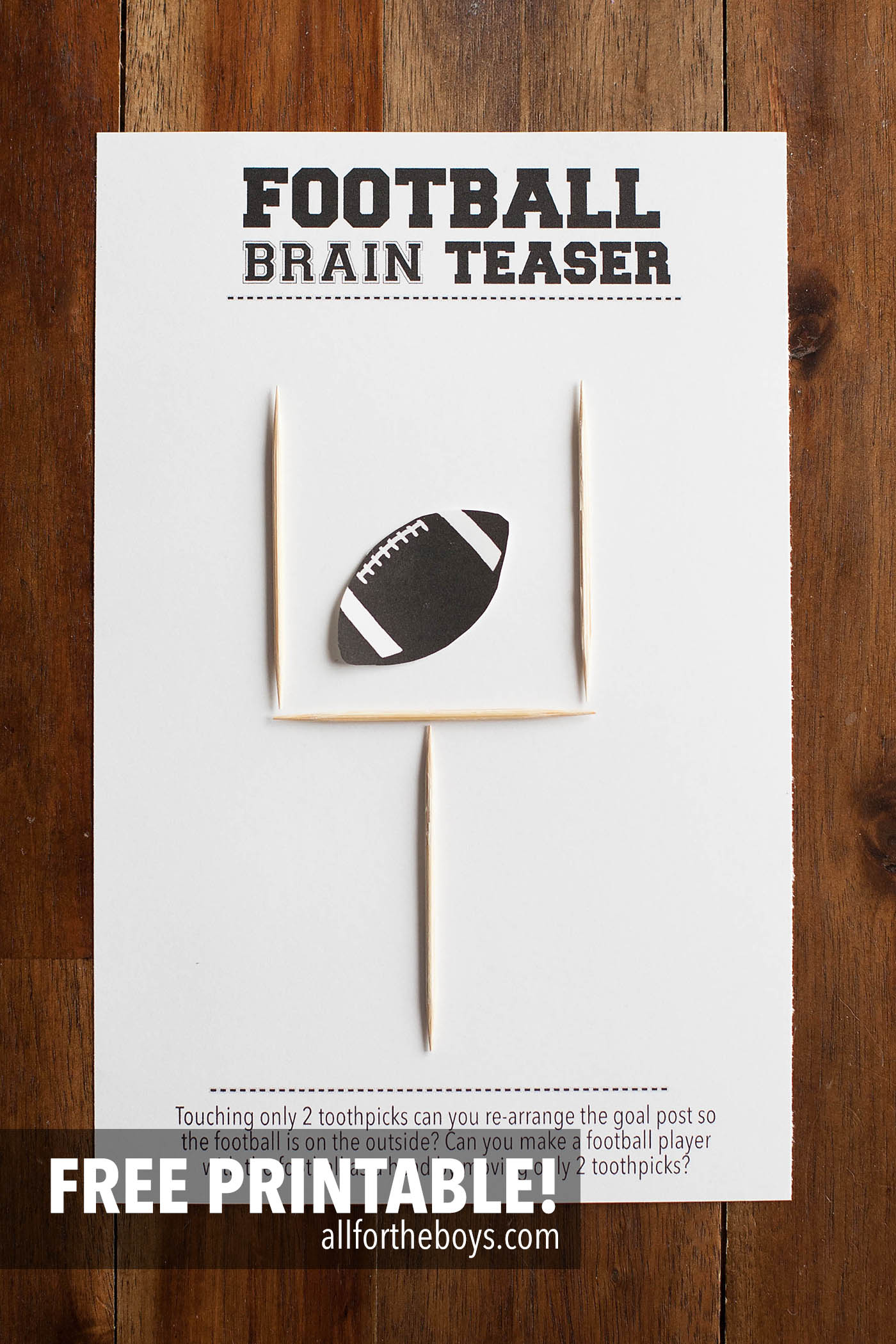 Football Brain Teaser Printable u2014 All for the Boys