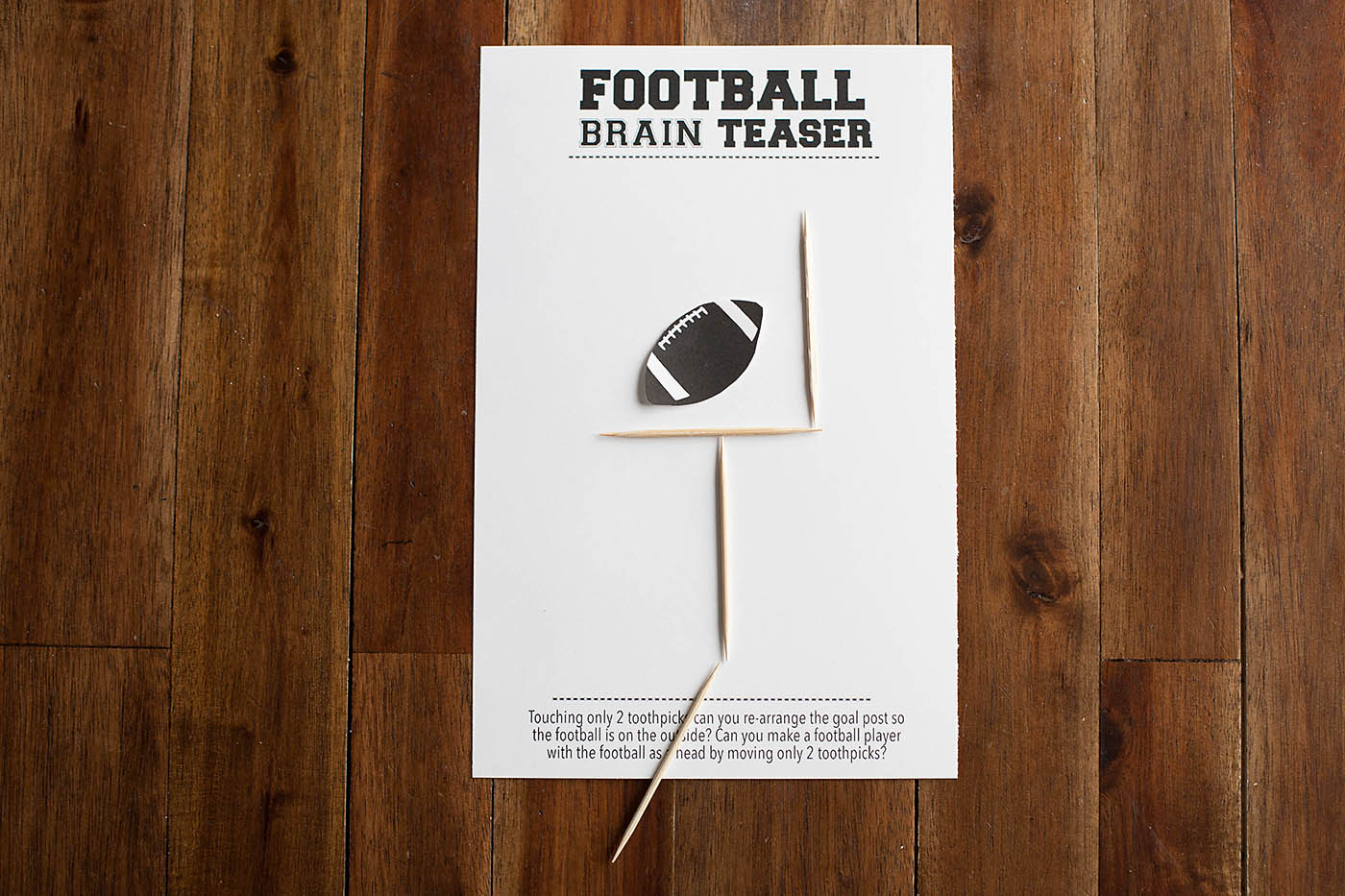 Football Brain Teaser Printable All For The Boys