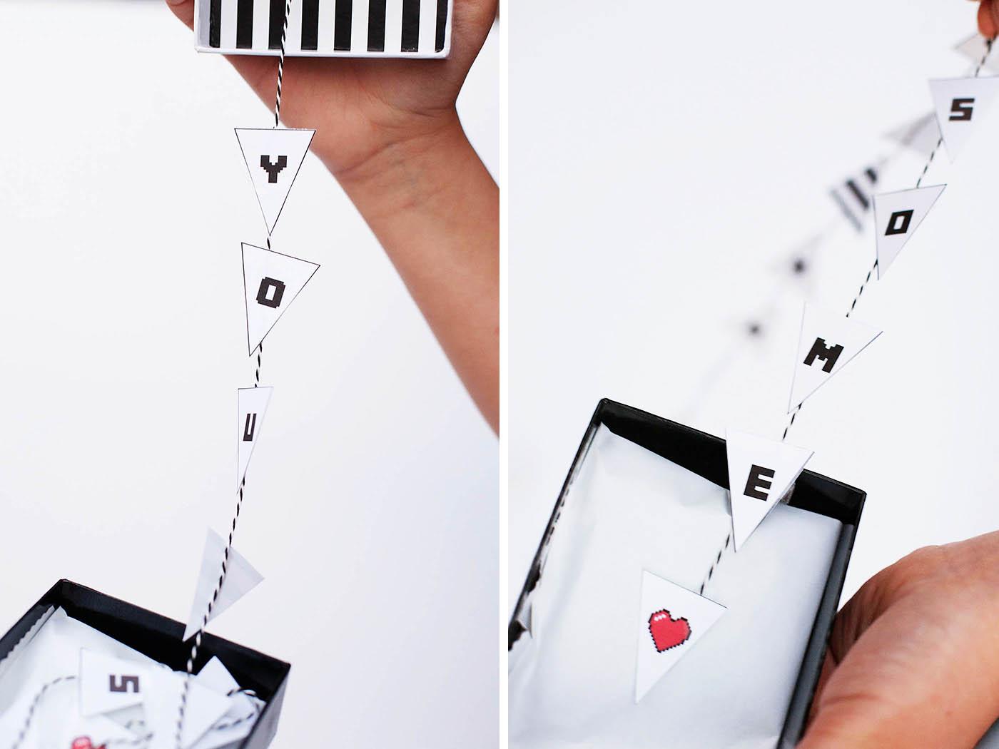 Printable pixelated Valentine's banners