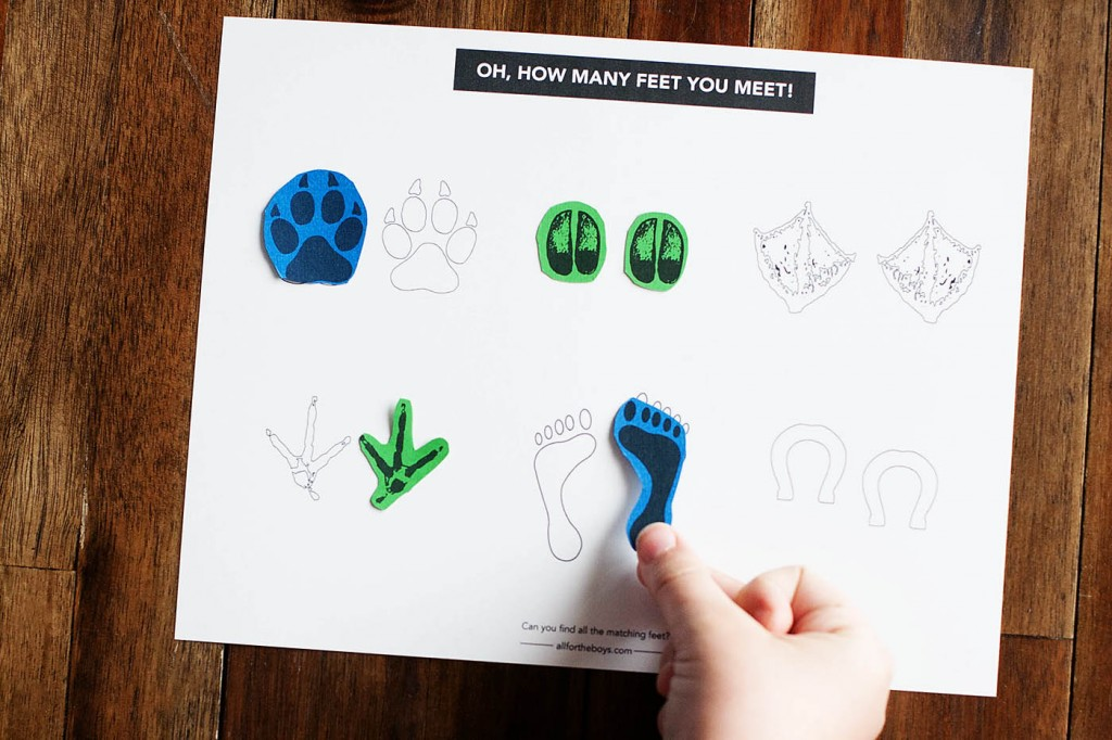 Printable The Foot Book matching game. Perfect for Dr. Seuss' birthday!