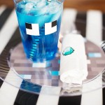Pixelated printable party supplies - Diamond Minecraft theme