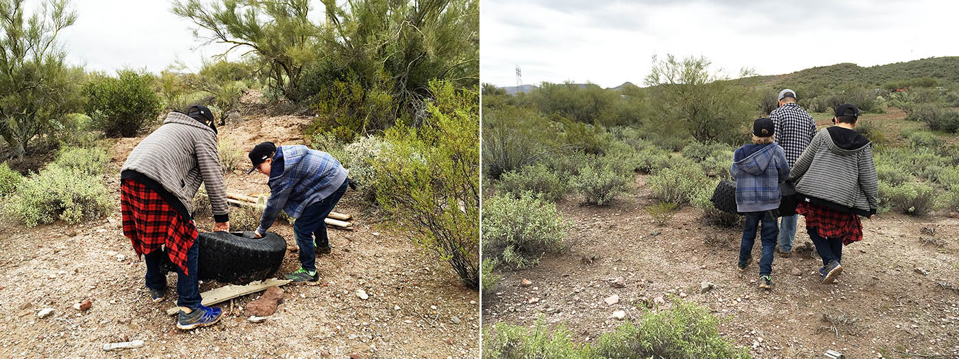 Table Mesa Recreation area cleanup in Arizona with Discount Tire