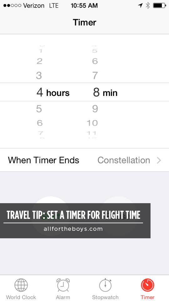 Travel Tip – Set a Timer for Flight Time