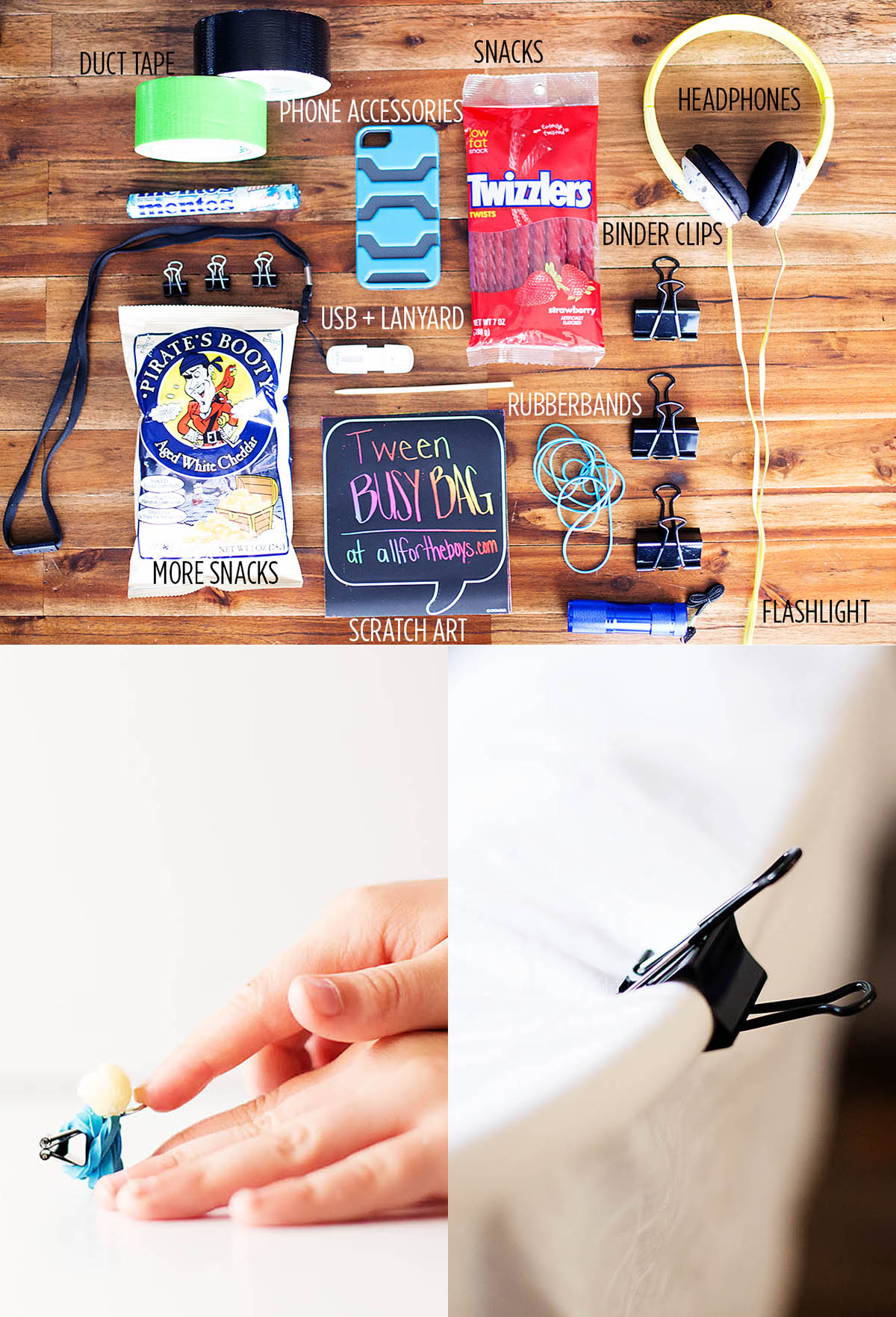 Tween busy bag - interesting ideas and things to pack to keep tweens busy! I love the binder clip ideas