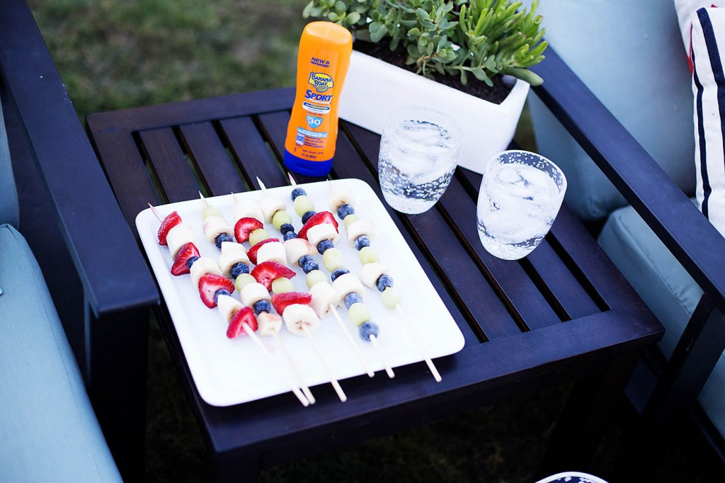 Poolside snack ideas - on a stick. Easy to eat AND clean up!