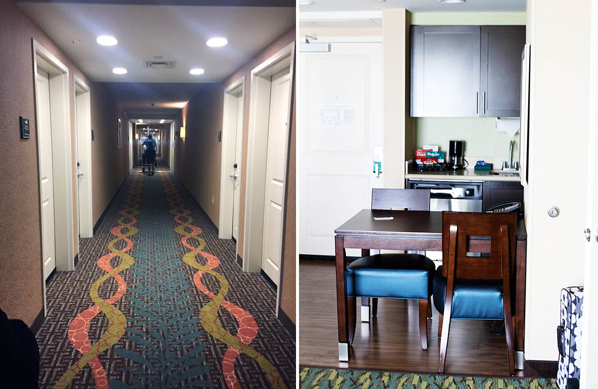 Homewood Suites - free hot breakfast, free wi-fi, fully equipped kitchens and even free grocery service! A great choice for families.