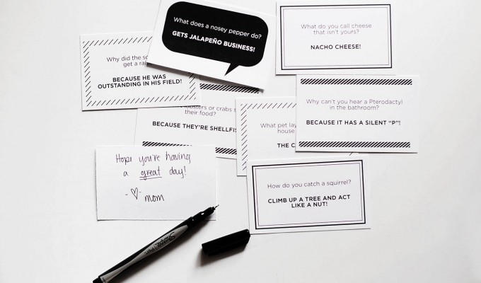 New lunchbox joke notes + family faves