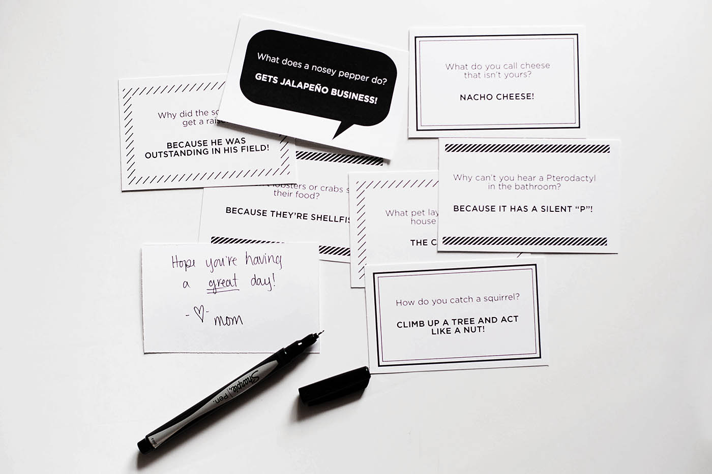Printable lunchbox joke notes