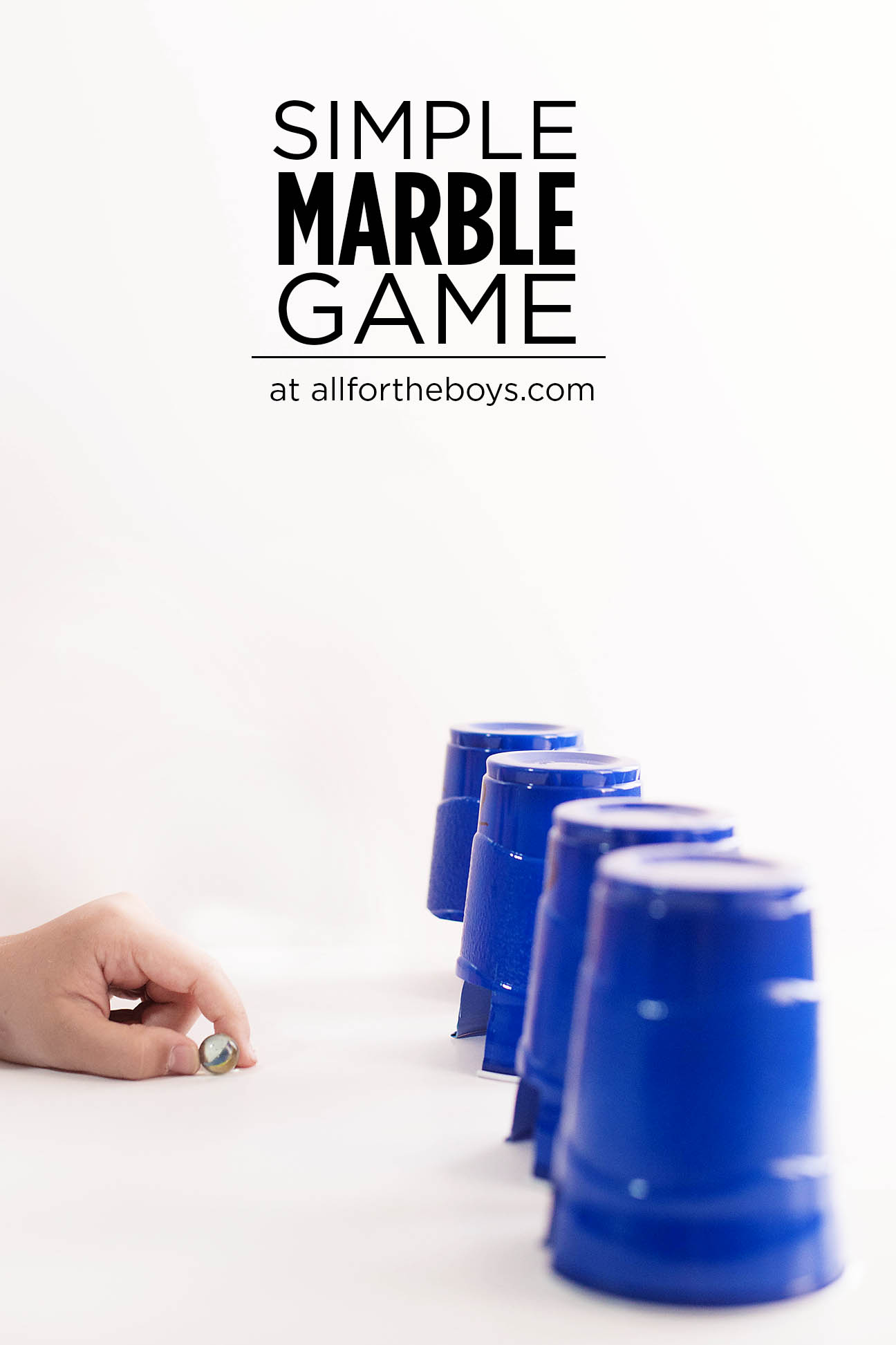 Simple marble game! You just need plastic (or paper) cups and marbles or any small ball really!