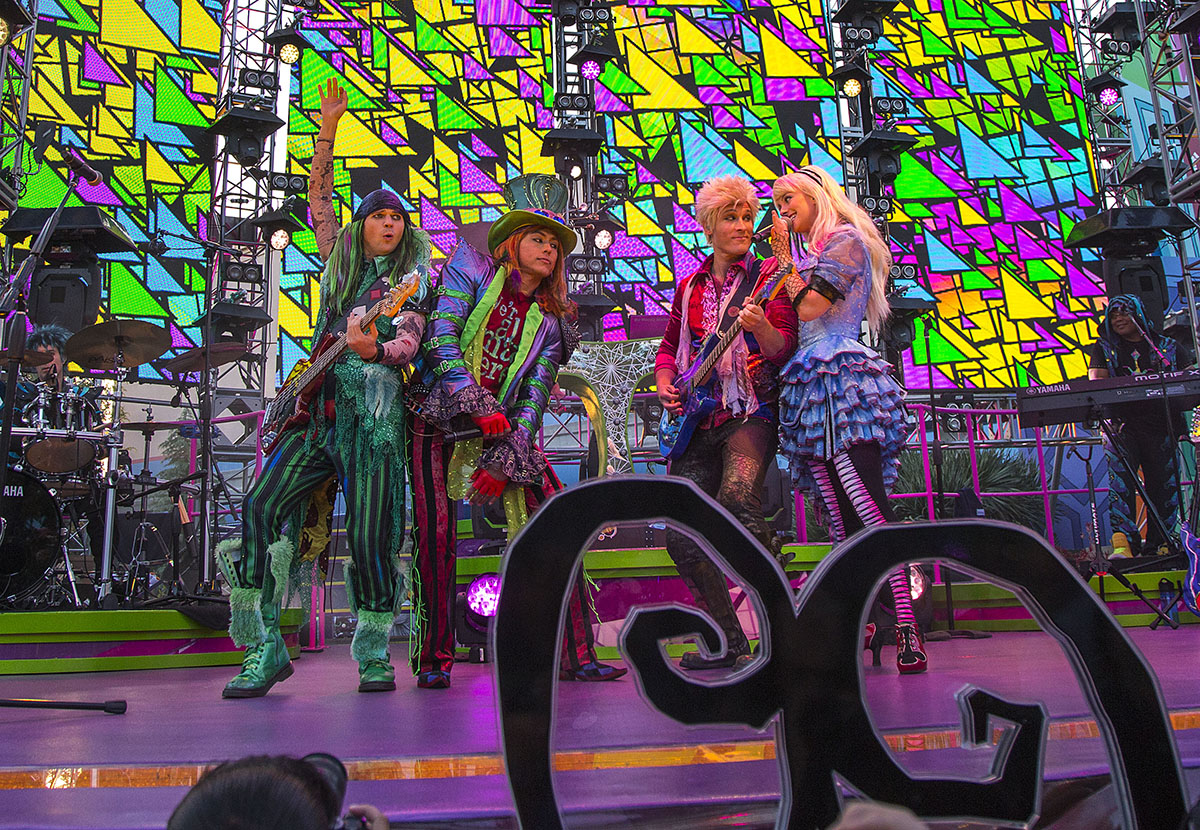 MAD T PARTY MAKES A DAZZLING RETURN (ANAHEIM, Calif.) - Combining the fantastical spirit of the Mad T Party with a tribute to Disney's past, the Diamond Mad T Party invites guests down the rabbit hole featuring live music, a dance crew, interactive games and more at Disney California Adventure park. (Paul Hiffmeyer/Disneyland Resort)