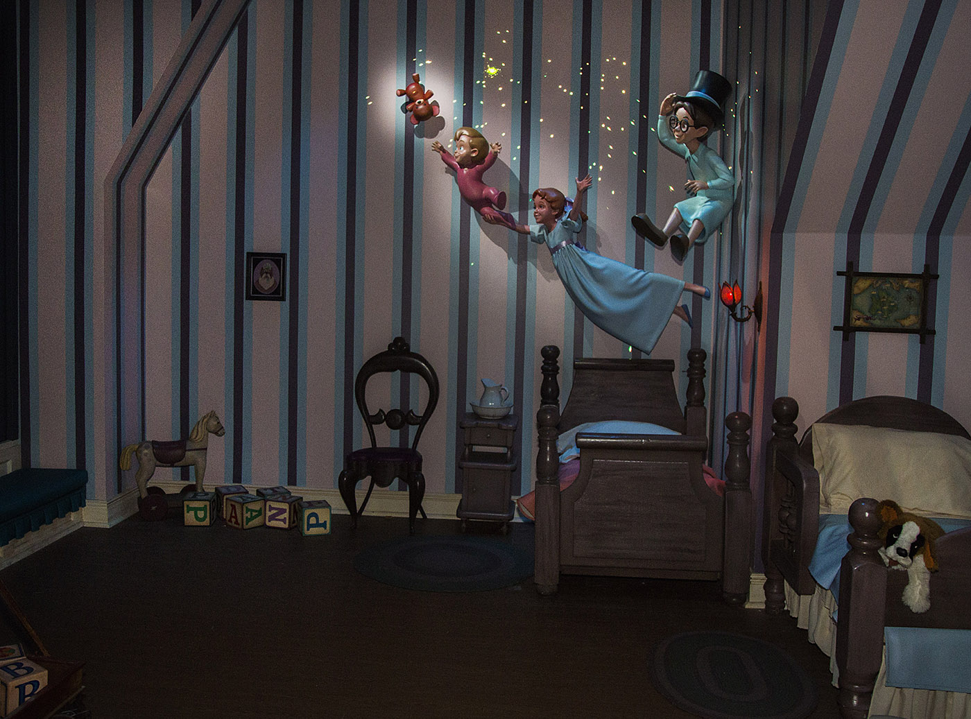 PETER PAN'S FLIGHT PIXIE DUSTED WITH 'NEW MAGIC' (ANAHEIM, Calif.) – Featuring a variety of special effects and a reimagined nursery scene, the classic attraction continues to delight guests on a flight to Never Land. (Paul Hiffmeyer/Disneyland Resort)