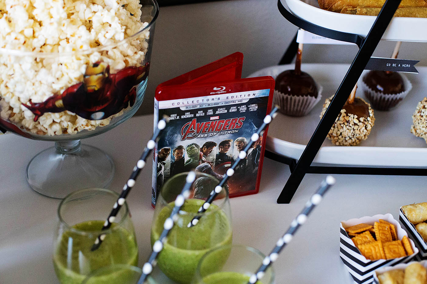 MARVEL's The Avengers: Age of Ultron movie night watch party including a hero transformation dress up center and free movie night printable!