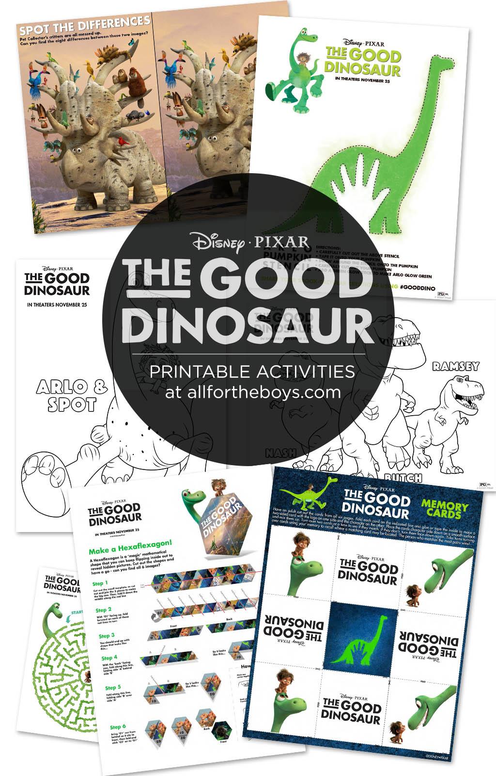 The Good Dinosaur Printable Activities