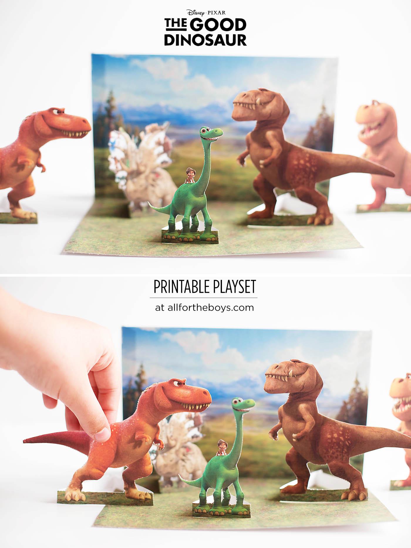 Free printable The Good Dinosaur playset and game!