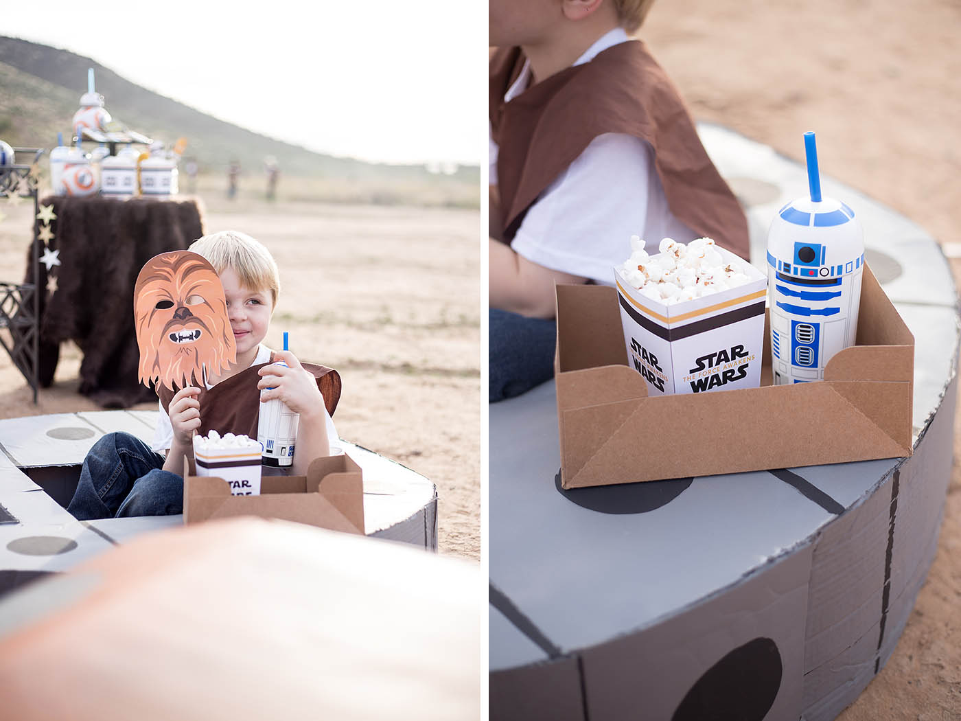 Star Wars: The Force Awakens outdoor movie night birthday party! Treats, printables, cardboard ships and more!
