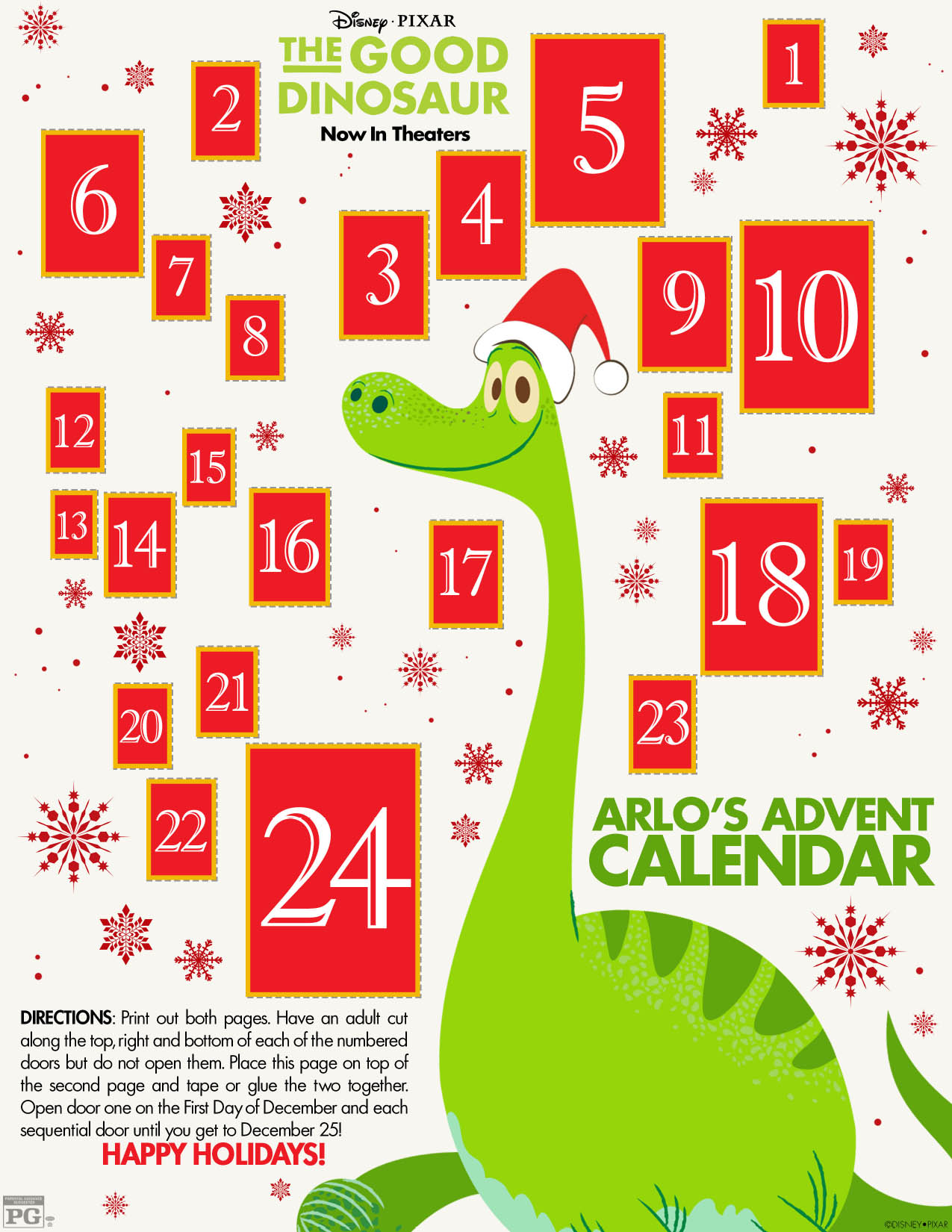 The Good Dinosaur Paper Advent calendar