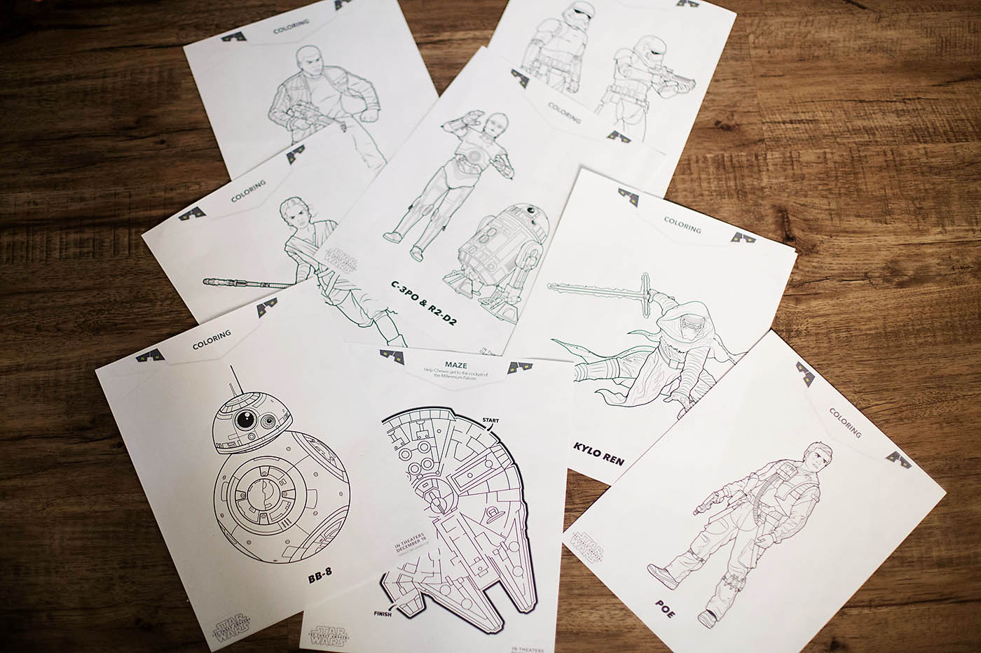 STAR WARS: THE FORCE AWAKENS fun family printables - includes coloring pages, a maze, matching game, bookmark and door hanger!