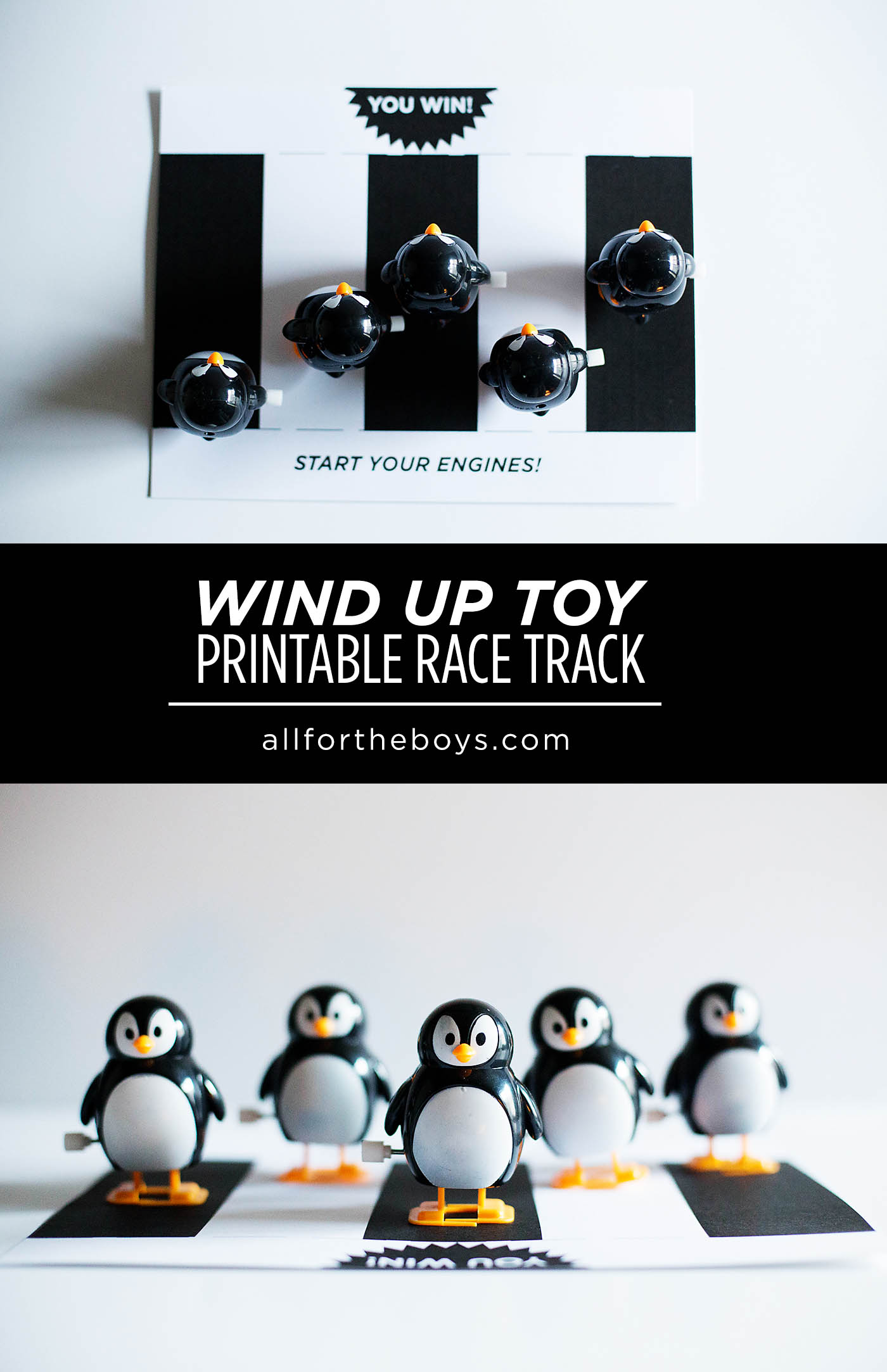 Wind up toy printable race track - what a fun, easy game for parties!