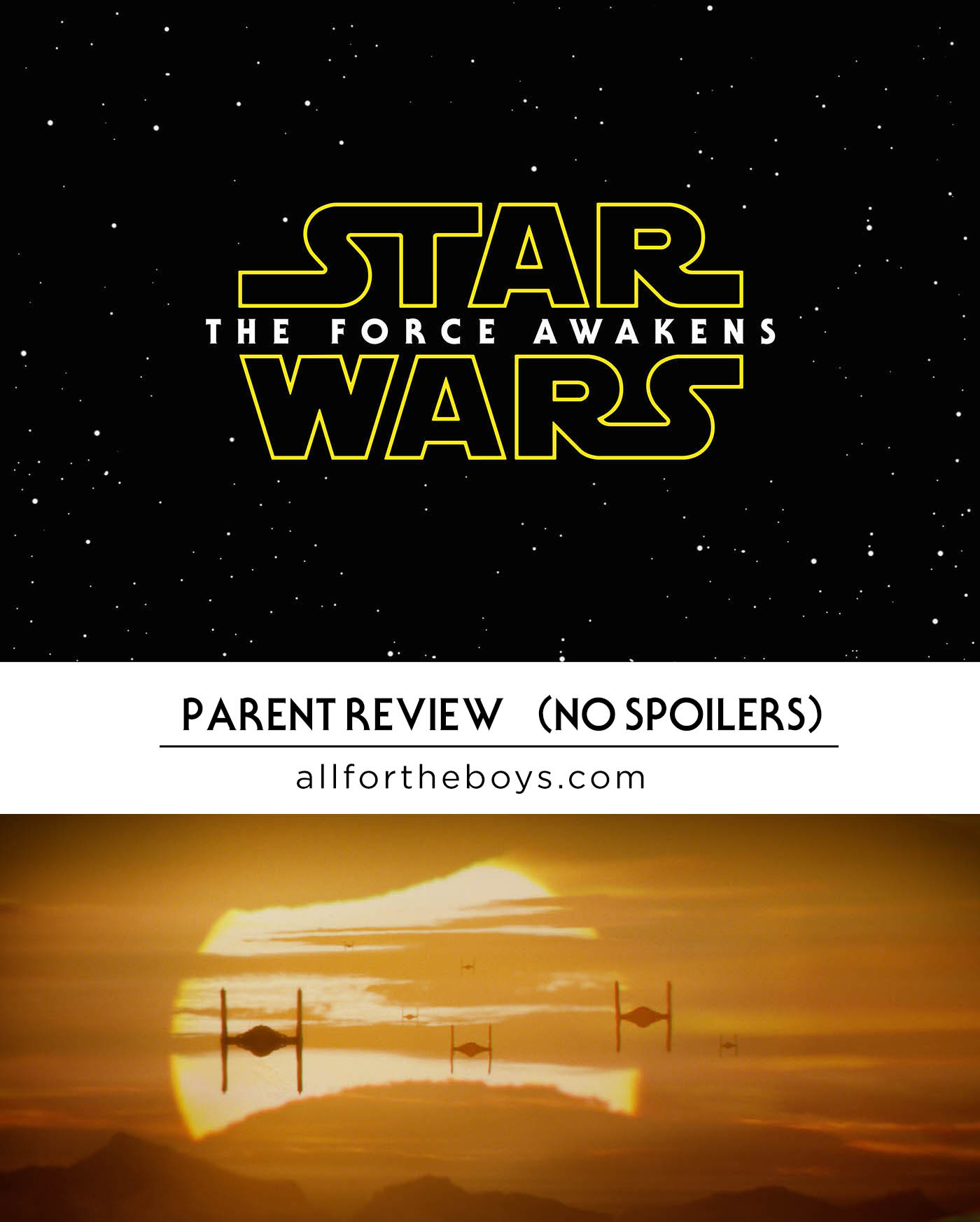 Star Wars: The Force Awakens parent review with no spoilers - or you can ask your questions in the comment section and she'll email you if the answer requires a spoiler!