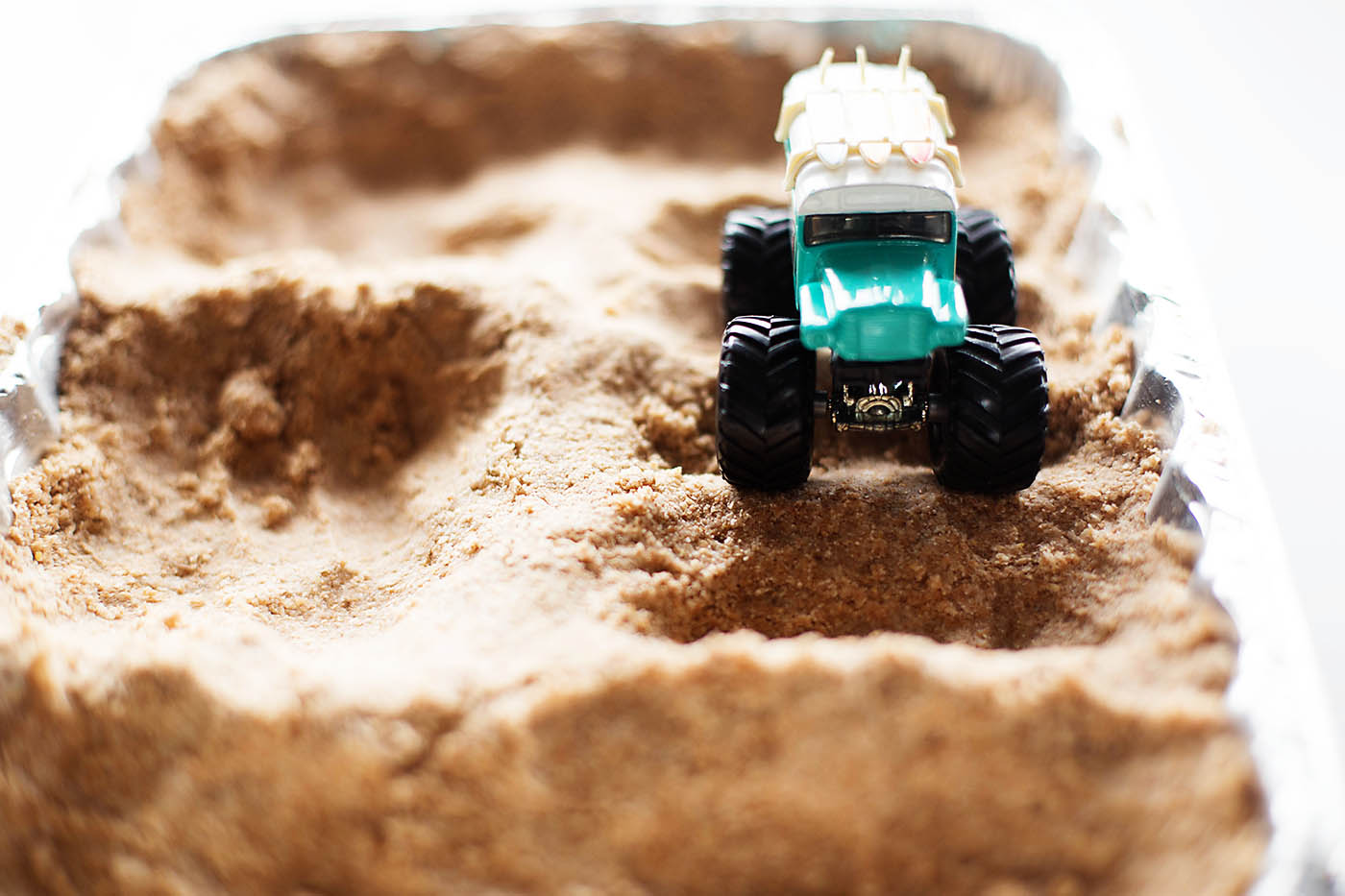 DIY sand for a toy motocross track - fun indoor play idea!