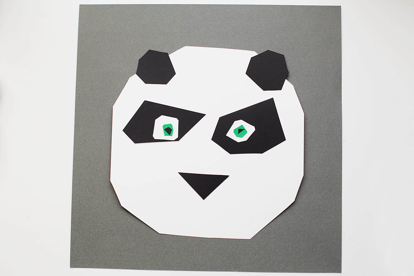 Geometric panda art inspired by Kung Fu Panda - make Po out of easy to cut shapes!