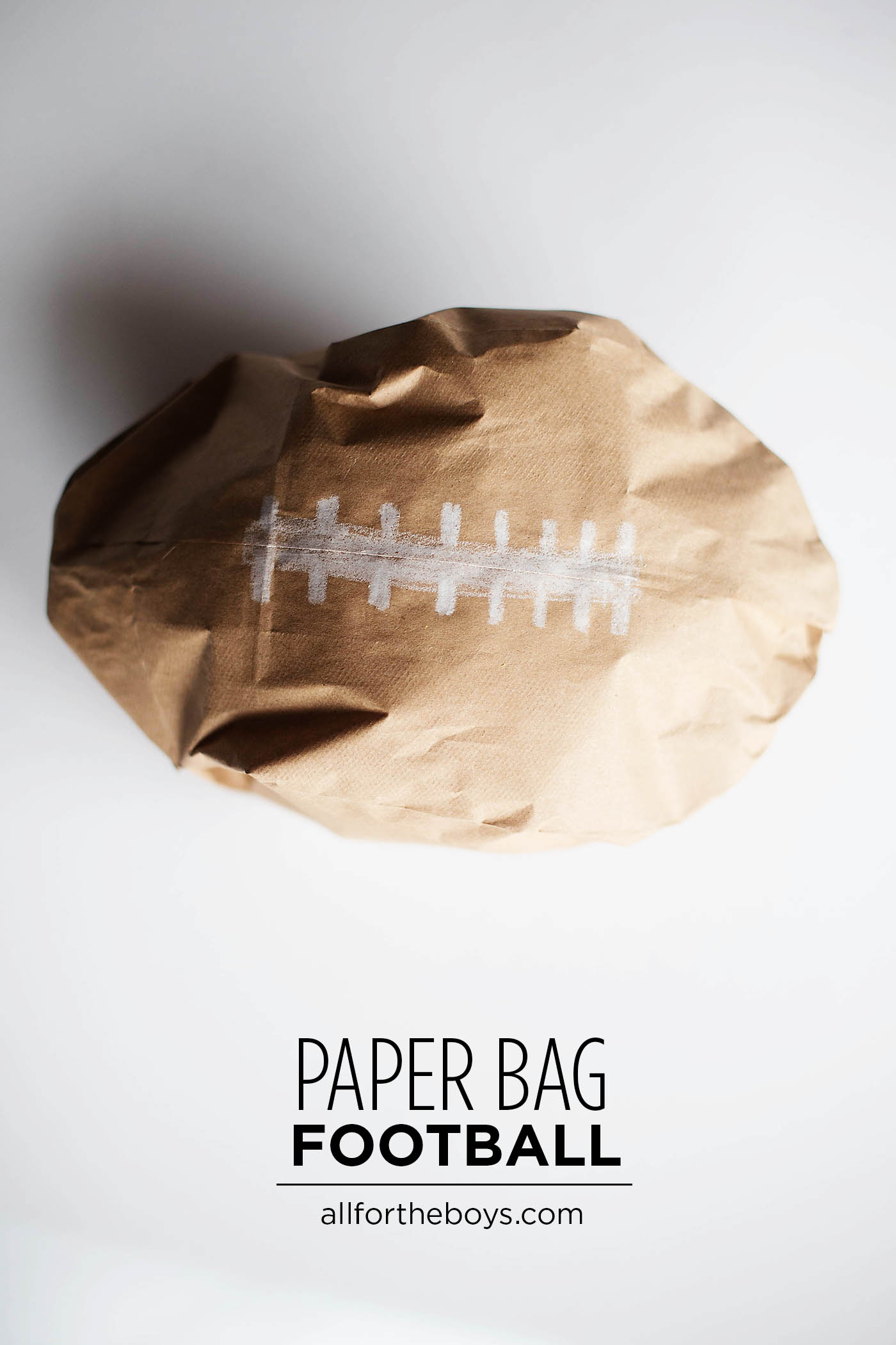 Paper bag football craft for kids