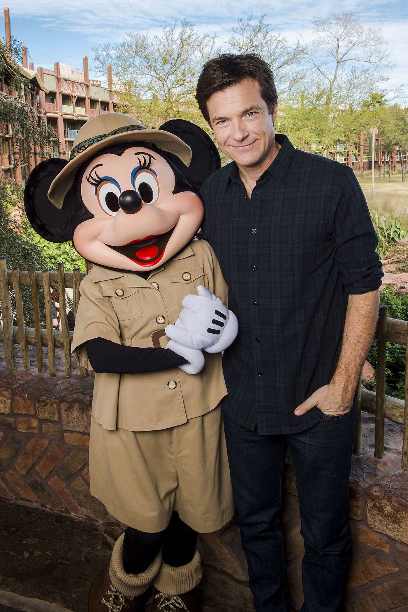"""(FEB. 21, 2016): Actor Jason Bateman poses with Minnie Mouse Feb. 21, 2016 at Disney's Animal Kingdom Lodge at Walt Disney World Resort during a press junket for Walt Disney Animation Studios' newest film, """"Zootopia."""" Bateman voices con artist fox Nick Wilde in the upcoming animated film, set for release on March 4, 2016. (Chloe Rice, photographer)"""