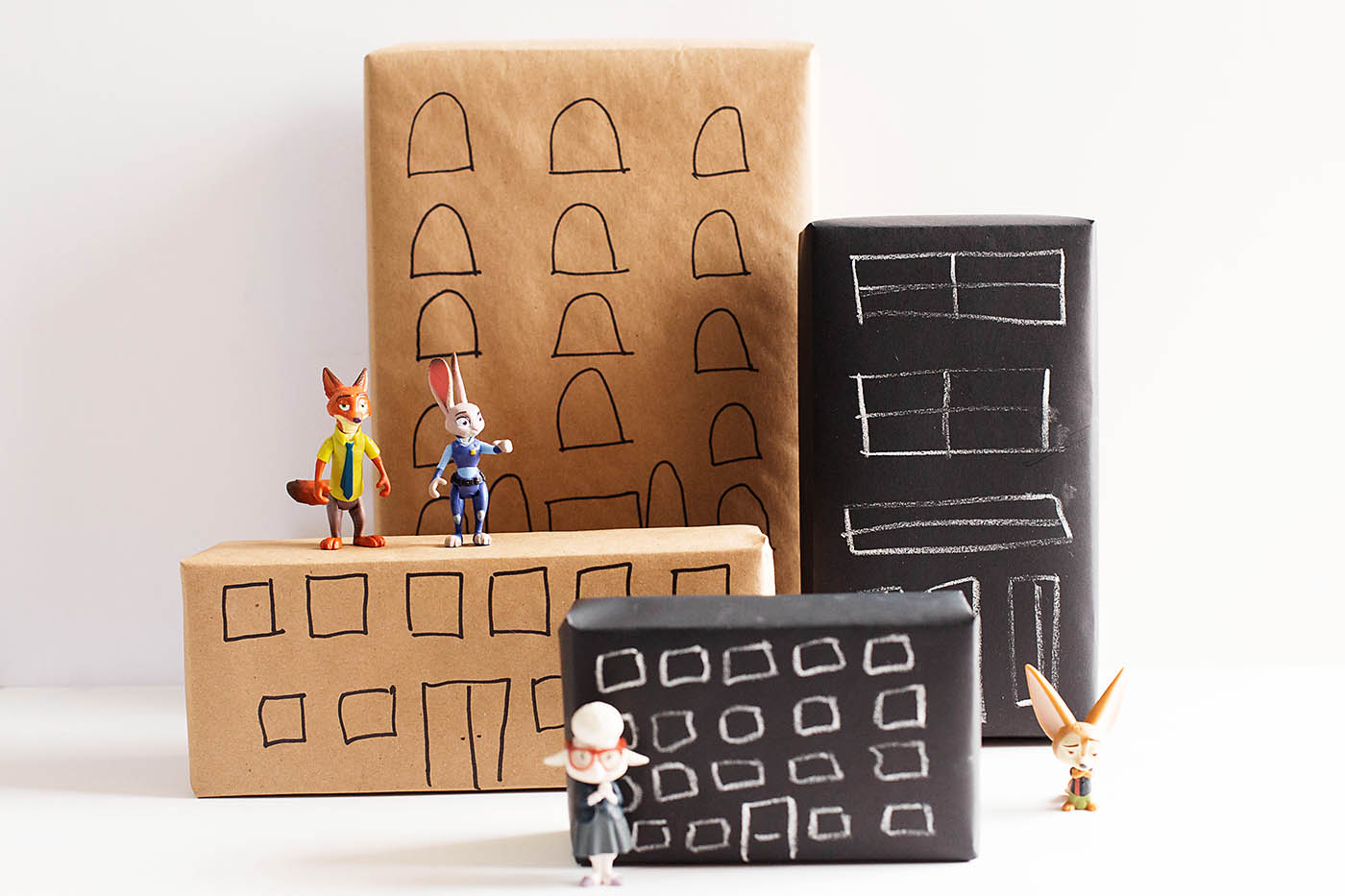 Simple DIY recycled city playset